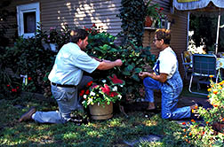 Horticulturist Scott Aker discusses pest problems with a neighborhood resident who volunteered her yard as a case study.
