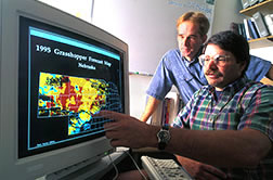 Entomologist and computer specialist use a computer program to check grasshopper forecast.