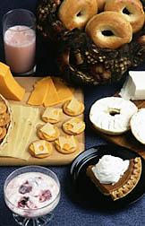 Photo: Bagels, crackers, cheese, and other foods. Link to photo information