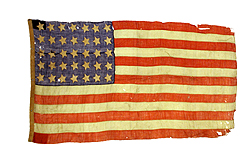 Photo: This flag, circa 1862-1865, was examined by ARS scientists because its fabric construction is similar to that of the Star-Spangled Banner, which dates to 1814. Link to photo information