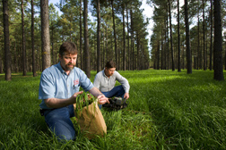 Soil scientist and technician collect samples of cool-season forage (annual ryegrass): Click here for full photo caption.
