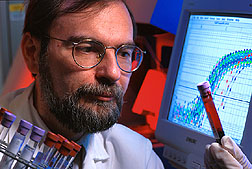 Biochemist Jose Ordovas searches for genetic mutations in blood samples from human volunteers.