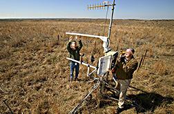 Jim Bradford y Phillip Sims ajustan una estación de tiempo equipada con instrumentos para medir el ciclo de carbono. Enlace a la información en inglés sobre la foto