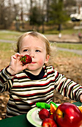 A 20-month-old boy enjoying a healthful snack. Link to photo information
