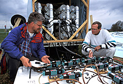 Researchers check the sequencing valves, a part of the methane sampling system. Click here for full photo caption.