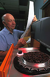Charles Huxsoll evaluates raisins for quality.