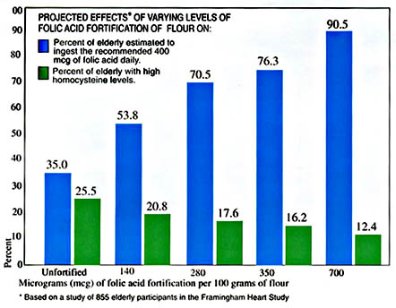 Graph: Projected effects of varying levels of folic acid fortification of flour