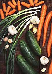 Carrots, onions, garlic and cucumbers.