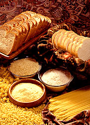 Breads, flour, cornmeal, rice, pasta and other grain products.  Link to photo information