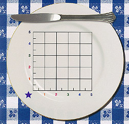 Measurement grid superimposed over food plate: Link to photo information