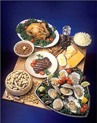 Foods containing zinc. Shown: chicken, eggs, cheese, oysters, beef and peanuts.