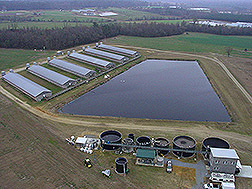 Overhead photo showing a full-scale wastewater treatment system and former swine lagoon. Link to photo information