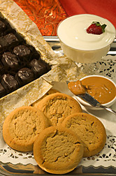 Cookies, dark chocolate, peanut spread, and low-fat yogurt: Click here for full photo caption.