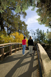 Two women walk across a footbridge. Link to photo information