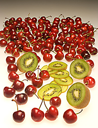Kiwifruit and Bing cherries: Click here for full photo caption.