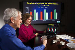 Director NHANES Program and ARS research leader review recent sodium intake data from What We Eat in America: Click here for full photo caption.
