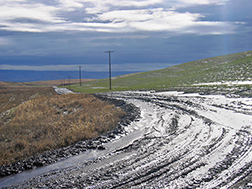 A winter storm covers a road bed with soil runoff from an adjoining hill slope on a conventionally tilled field: Click here for photo caption.