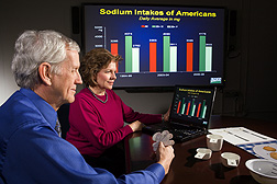 "Clifford Johnson, director NHANES Program, Centers for Disease Control and Prevention, DHHS, and Alanna Moshfegh, ARS research leader at the Food Surveys Research Group, Beltsville Human Nutrition Research Center, review sodium intake data from ""What We Eat in America,"" the dietary intake component of the National Health and Nutrition Examination Survey: Click here for photo caption."