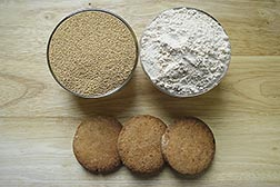 Amaranth seeds, amaranth flour, and amaranth cookies. Link to photo information