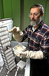 Lee Nash prepares rhizobia cultures for mailing. Click here for full photo caption.