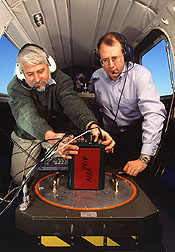 A physical scientist adjusts an airborne hyperspectral sensor. Click here for full photo caption.