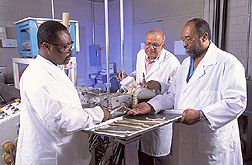 Two food technologists and a technician process rice fry strands: Click here for full photo caption.