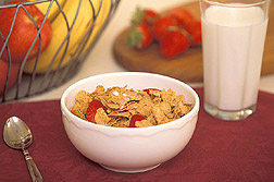 Breakfast cereal in a bowl and a glass of milk: Click here for full photo caption.