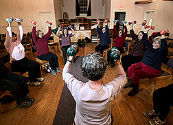 Strong Living Program regional coordinator leads an exercise class: Click here for full photo caption.