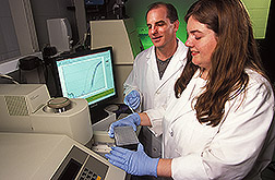 Molecular biologist and technician study the expression of genes in root hair cells: Click here for full photo caption.