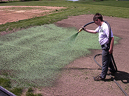Summit Seed, Inc., employee sprays a test plot with one of the cotton-based hydromulches developed during the research study on value-added processing of cotton gin byproducts: Click here for full photo caption.