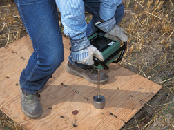 Subsurface compaction can be tested by measuring soil penetration resistance with a penetrologger: Click here for full photo caption.
