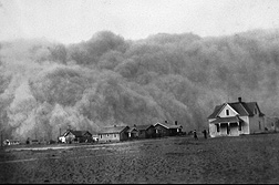 A dust storm approaching Stratford, Texas, in 1935: Click here for photo caption.