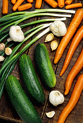 Carrots, onions, garlic, and cucumbers: Click here for full photo caption.