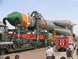 At the Baikonur Cosmodrome in Kazakhstan, the Soyuz rocket is being prepared for launch.
