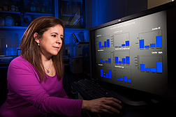 Microbiologist Gloria Solano-Aguilar evaluates intestinal bacterial data from pigs consuming high-fat and low-fat diets: Click here for full photo caption.
