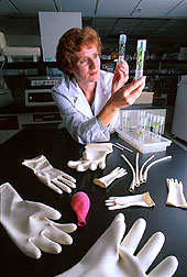 Katrina Cornish checks seedlings produced for use in experiments to improve guayule plants. The experimental, allergen-free latex products shown were made from guayule.
