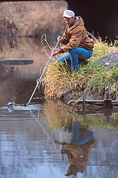 Technician collects water sample from stream. Link to photo information