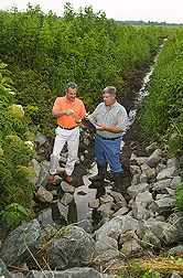 ARS soil physicist (left) and landowner examine water quality in a ditch under controlled drainage management within the Choptank Watershed: Click here for full photo caption.