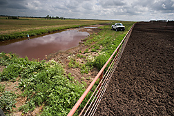 The water on the left collected in a solids-separation basin at the low end of the feedlot pen (on the right) after a rain: Click here for full photo caption.