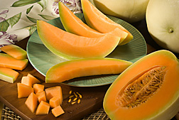 Orange-fleshed honeydew melons. Link to photo information