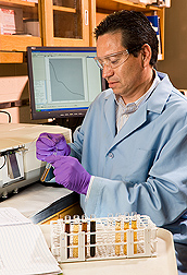 Chemist analyzes the composition of water-soluble organic matter from biochar: Click here for full photo caption.