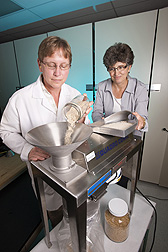 At the Soft Wheat Quality Laboratory in Wooster, Ohio, ARS technician Amy Bugaj (left) and research specialist Mary Guttieri, formerly with Ohio State University, grind wheat bran that will be used to prepare whole-grain wheat flour for testing: Click here for photo caption.