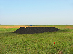 Bulk hardwood biochar prior to application on plots near Ames, Iowa: Click here for photo caption.