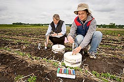 Using closed-vented chambers, biological science aide Rochelle Jansen (right) and soil scientist Jane Johnson collect gas emissions from soil at a research farm: Click here for full photo caption.