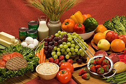Beef patties and a variety of fruits, grains, vegetables and dairy products.  Link to photo information
