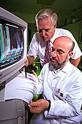 Ronald L. Prior (left) and visiting scientist Emin Sofic evaluate antioxidant components of strawberries.