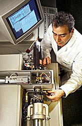 Using high-performance liquid chromatography, chemist Frederick Khachik analyzes an extract of human blood.