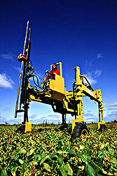 Specialized soil-sampling machine uses hydraulics for lift and movement