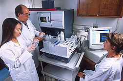 Technician, chemist, and research associate prepare blood and urine samples: Click here for full photo caption.