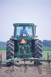 Farm manager deep-chisels a field: Click here for full photo caption.
